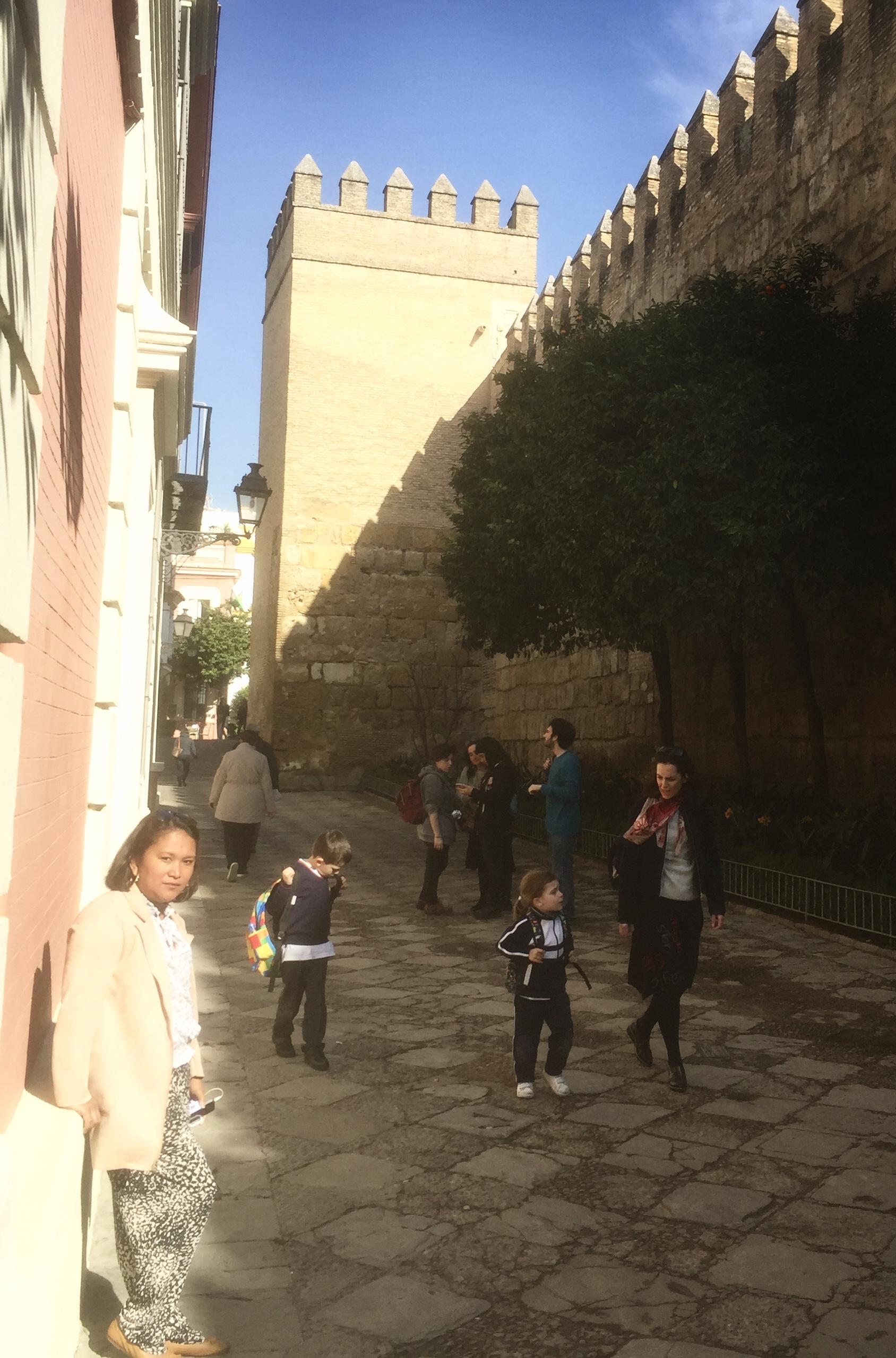 Le long du palais de l'Alcazar