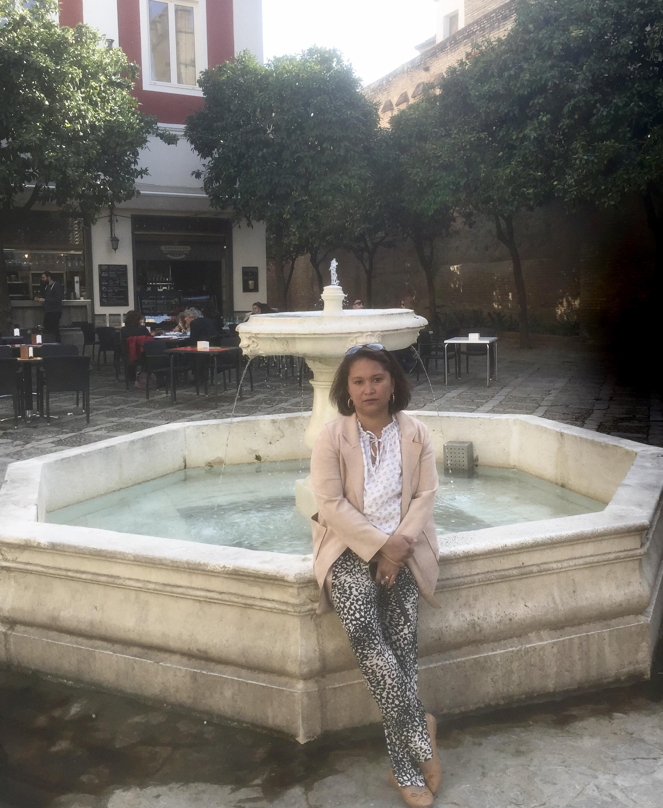 Pause photo, une petite fontaine près de l'Alcazar