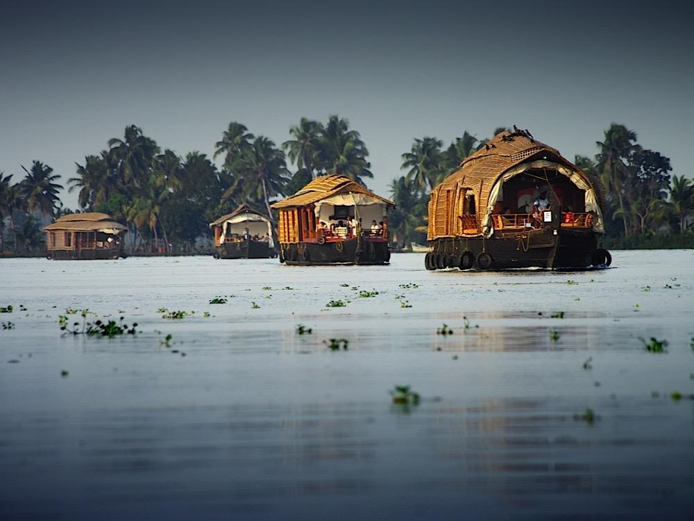 Kerala asia india allepey house boats on river